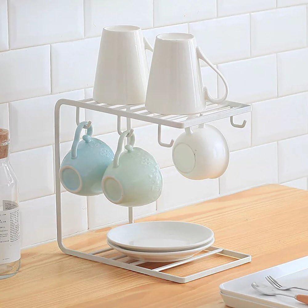 LJM taza plato organizador Simple Houseware cocina cabinit y contador estante organizador soporte para taza árbol soporte para taza de café: Amazon.es: Hogar