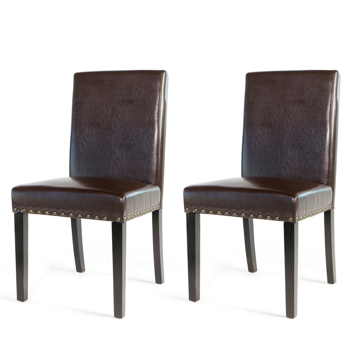 Barton Small Size Leather Stylish Dining Chair Furniture with Nailhead Trim, Set of 2 (Brown)