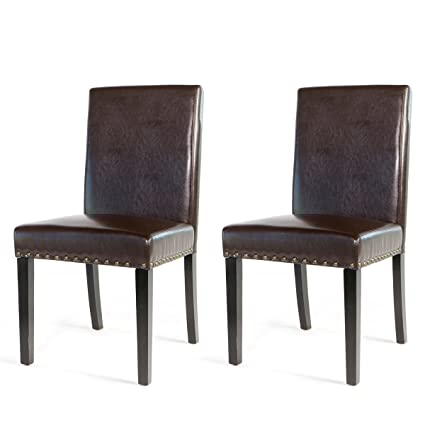 Barton Small Size Leather Stylish Dining Chair Furniture With Nailhead  Trim, Set Of 2 (