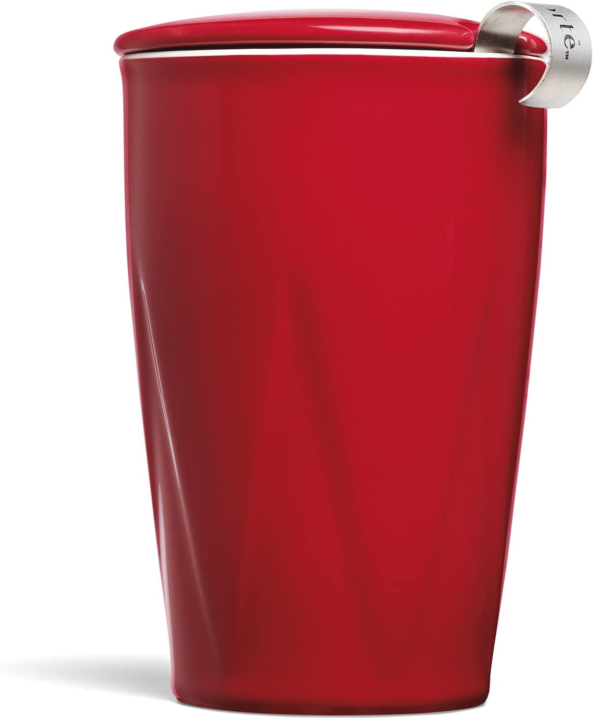 Tea Forte Kati Cup Ceramic Tea Infuser Cup with Infuser Basket and Lid for Steeping, Forte Cranberry