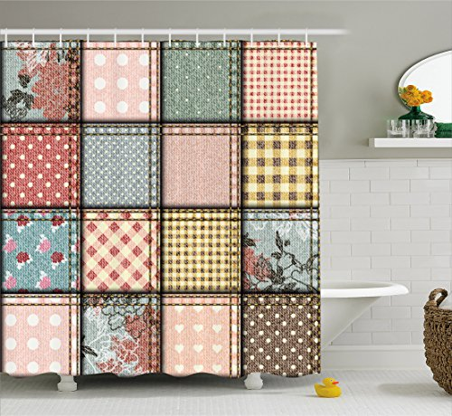Ambesonne Shabby Chic Decor Shower Curtain, Patchwork Denim Seem Fabric Pieces Stitches Square Tile Digital Print, Fabric Bathroom Decor Set with Hooks, 70 inches, - Shabby Patchwork Curtains