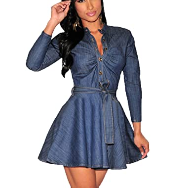 6bfd94a7c142 Momtuesdays2 Women s Long Sleeve A-line High-Low Denim Casual Dress Cowboy  Jumpsuit at Amazon Women s Clothing store