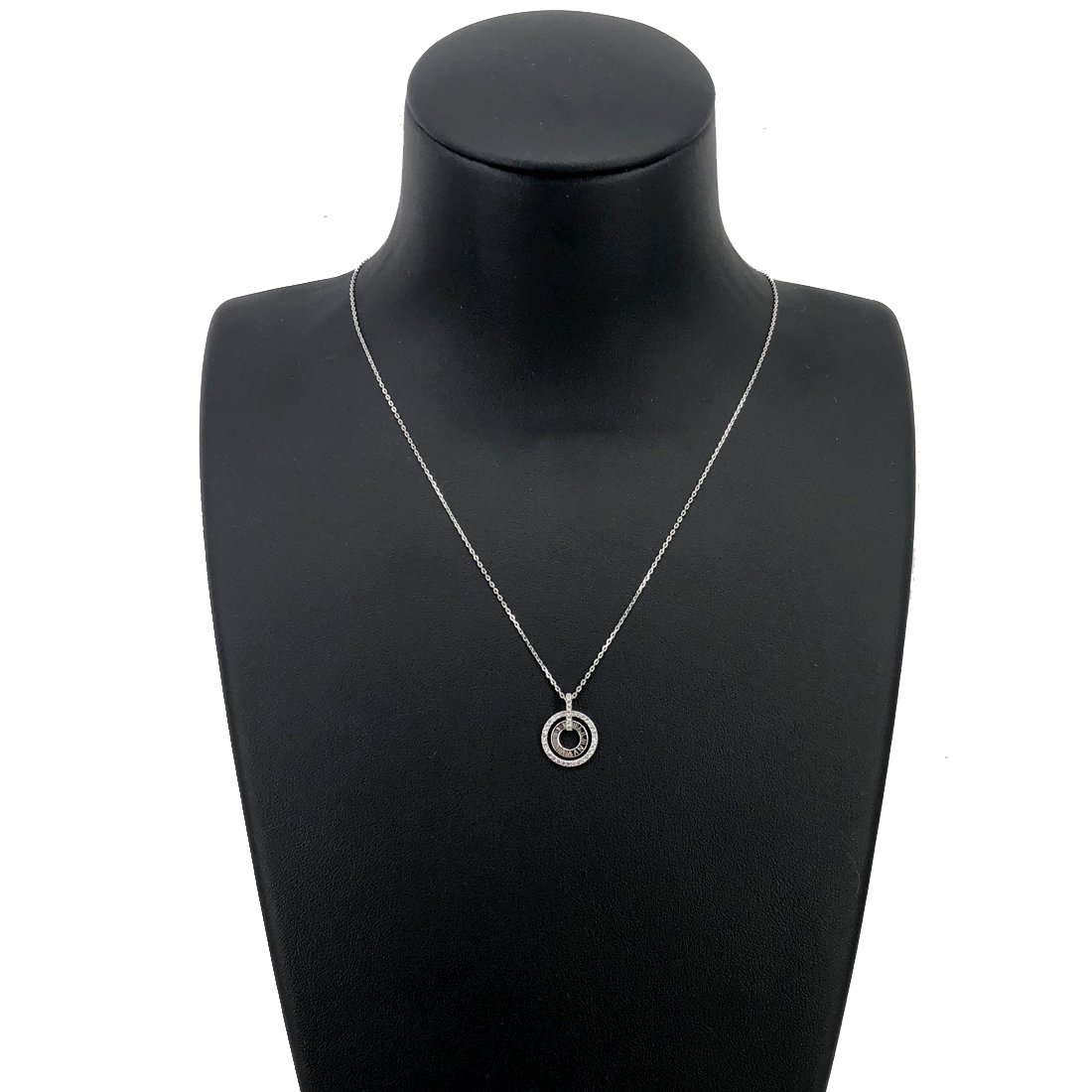 UinqueVous Sterling silver Pendant Woman Halo Double Circle Necklace with Cubic Zirconia