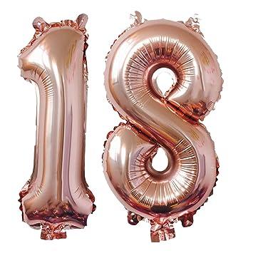Meowoo Globo de Cumpleaños 18 Globo de Papel de Aluminio Globo Grande 100cm 40 Pulgada Fiesta de cumpleaños Suministros Decoración(Oro Rosa Num 18)