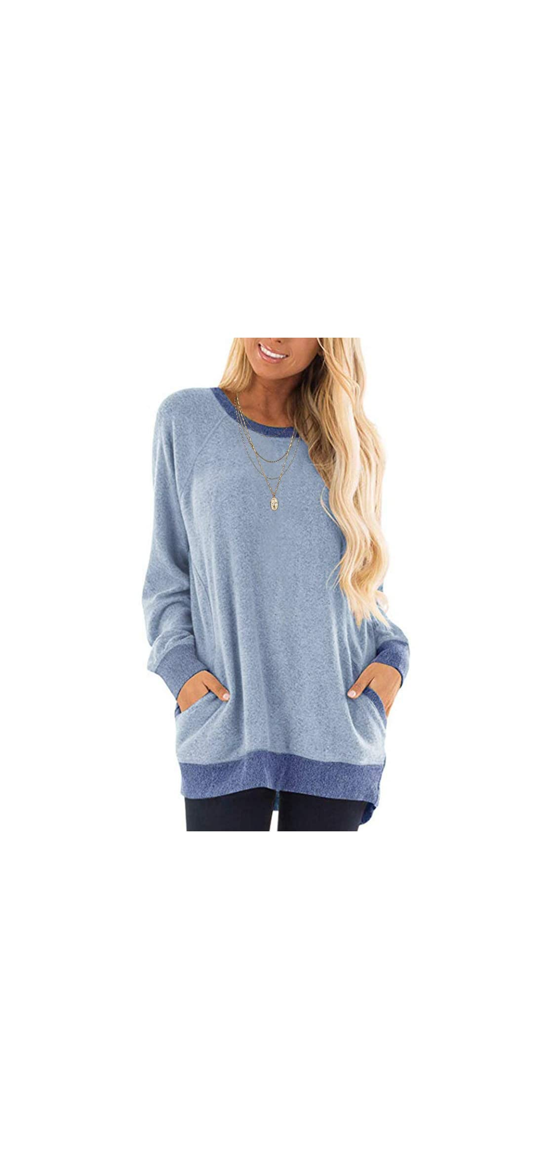 Womens Casual Sweatshirts Color Block Long Sleeve Round T
