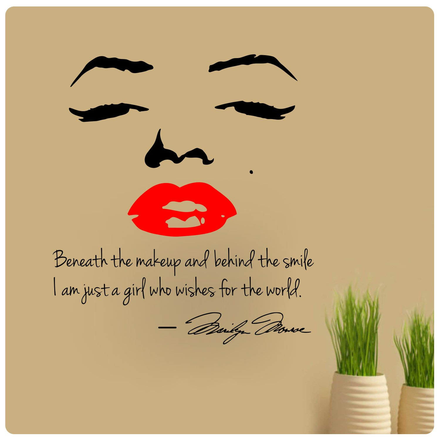 Amazon.com: Marilyn Monroe Red Lips Beneath the Makeup Behind Smile ...
