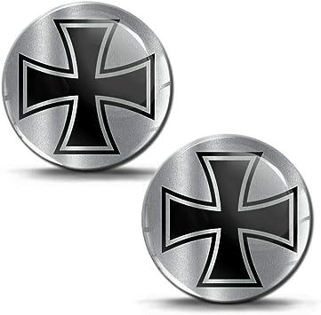 Biomar Labs 2 X Aufkleber 3d Gel Silikon Iron Cross Eisernes Kreuz Silber Stickers Autoaufkleber Auto Motorrad Fahrrad Fenster Telefon Laptop Pc Tablet Tür Ks 189 Auto