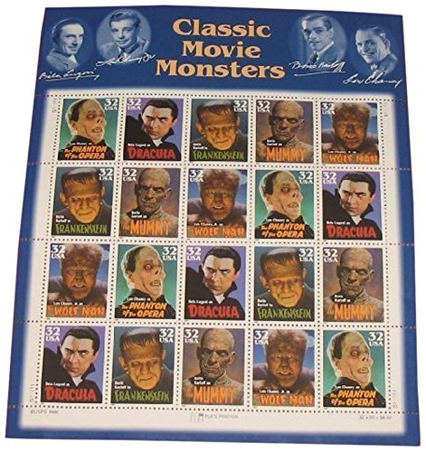 Halloween Postage Stamps (USPS Classic Movie Monsters Collectible Stamp 32 Cent Sheet Scott)