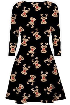 a9aa188148d Womens Christmas Dresses Ladies Long Sleeve Olaf Santa Novelty Stocking Xmas  Swing Plus Size  Amazon.co.uk  Clothing