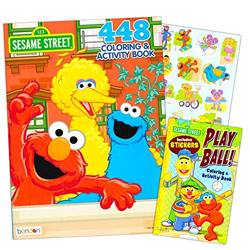 Sesame Street Elmo Coloring Book Super Set Bundle with 2 Sesame Street Books and Stickers ~ Over 600 Pages Featuring Elmo, Cookie Monster, Big Bird and More (Elmo Coloring Book)