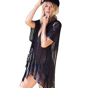 xm Traje de baño de Punto de Mujer túnica de Ganchillo Bata de Playa (Black): Amazon.es: Deportes y aire libre