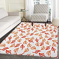 Nature Rugs for Bedroom Seasonal Autumn Leaves Dashed Sketch Stem Effects Foliage Fall Elements Nature Circle Rugs for Living Room 4x6 Orange Red White