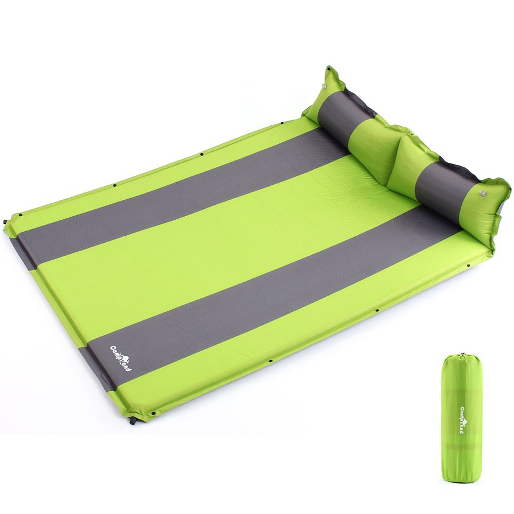 Seatopia Double Self-inflating Sleeing Pad Camping Air Mattress with Pollow B075ZP9Y18  green and gray