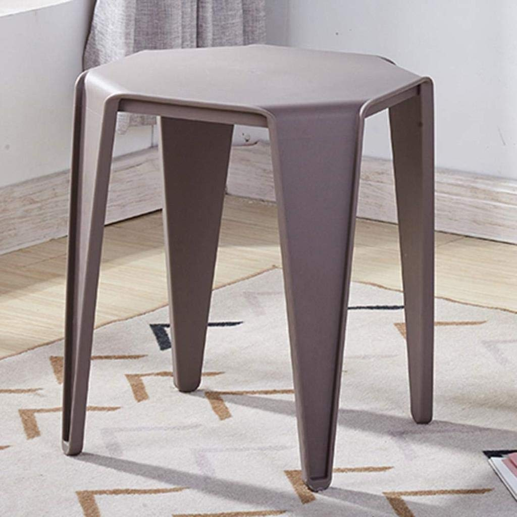 Plastic Stools Ottoman Footstools Simple Solid Color Household Thicken Living Room Dining Table Chair (Color : Gray)