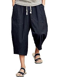 a265c5a49a Rexcyril Men's Baggy Linen Capri Pants, Casual Loose Drawstring Harem Yoga  Long Shorts with Pockets