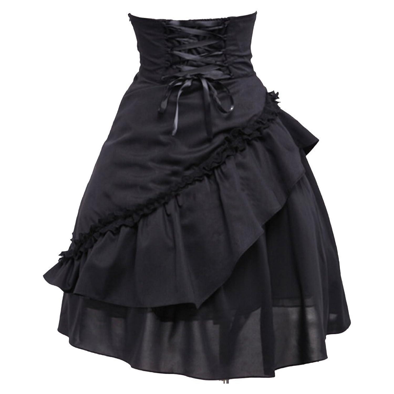 Partiss Damen Frauen aus reiner Baumwolle Ruffle Gothic Lolita Rock