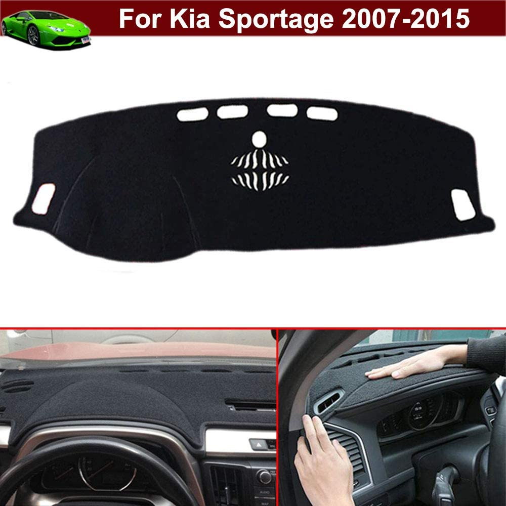 New 1pcs Black Non-Slip Dash Mat Dashboard Mat Dash Carpet Dash Covers Dashboard Cover Custom Fit for Kia Sportage 2007 2008 2009 2010 2011 2012 2013 2014 2015 2015