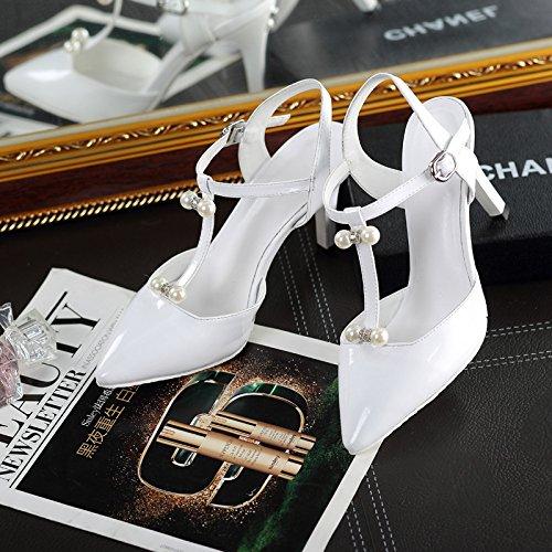 WSS chaussures à talon haut Européens et américains femmes sandales hauts talon pointus pieds de sandales attaches perle