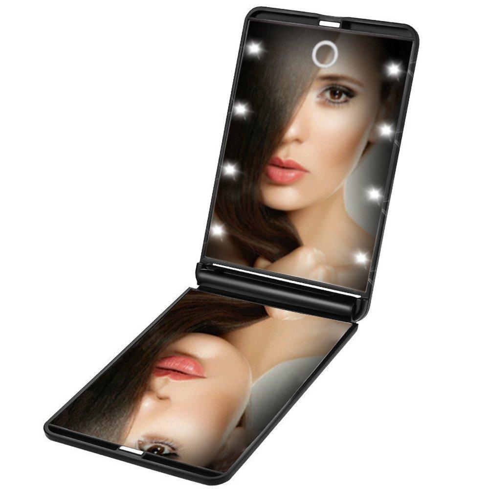 Cosprof-Miroir compact de maquillage de voyage à LED, miroirs pliants de maquillage portable avec 8LED, grossissement x1 et x2, miroir de poche