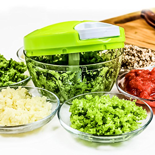 Manual Food Chopper, ONEONEY Compact Hand Held Vegetable Chopper with Dicer 7 in 1 /Mincer/Blender to Chop Fruits, Vegetables, Nuts,Herbs,Onions,Garlics for Salsa,Salad,Pesto,Coleslaw,Purer (Genius Spice Grinder compare prices)