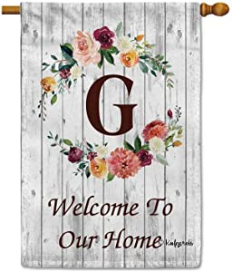 KafePross Hello Spring Flowers Summer Initial Letter Monogram G House Flag Welcome to Our Home Warminghouse Decor Banner for Outside 28X40 Inch Double Sided