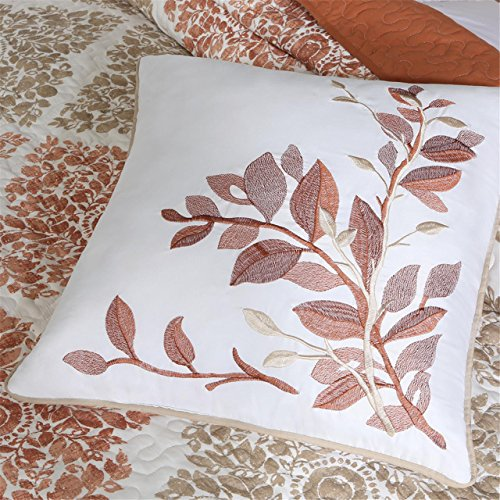 Madison Park Claire 6 Piece Quilted Coverlet Set, Full/Queen, Spice