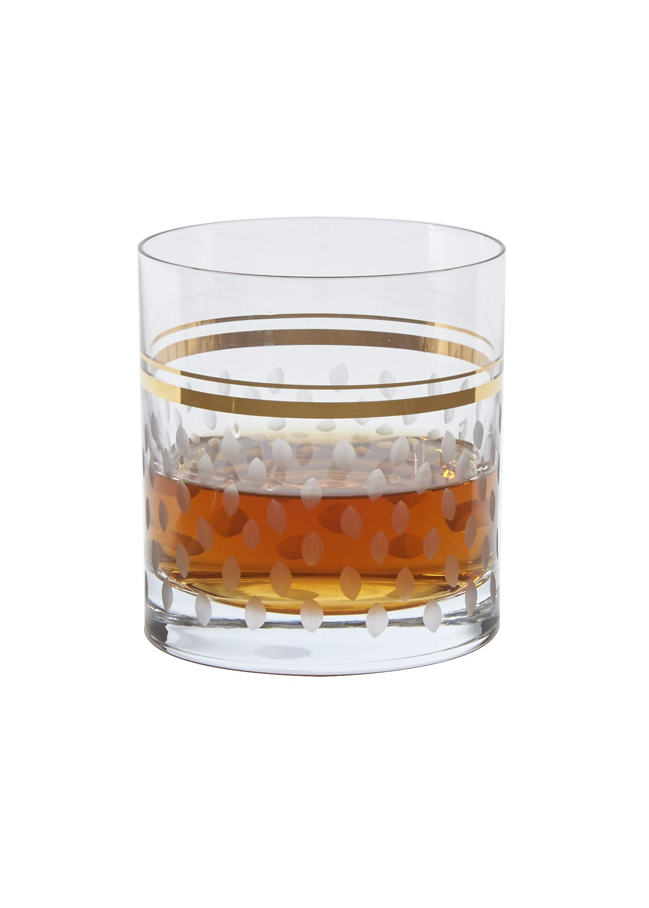 Glazze Crystal Set of 6 Handcrafted Whiskey Glasses with Hand Painted Real Gold Trim Detailing - Hand Cut Raindrops Pattern - Luxurious Gift for Men and Women - For Whisky on the Rocks or Soft Drinks