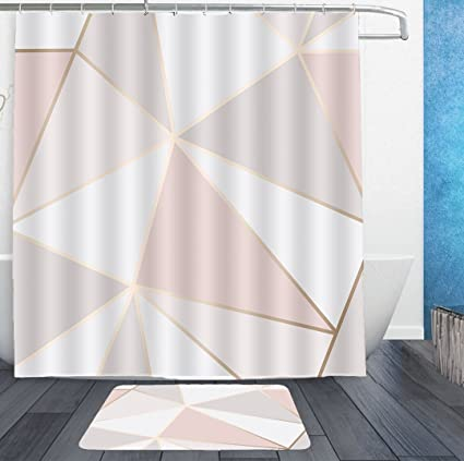 AMERICAN TANG Shower Curtains With Hooks And Bath Rug Mat