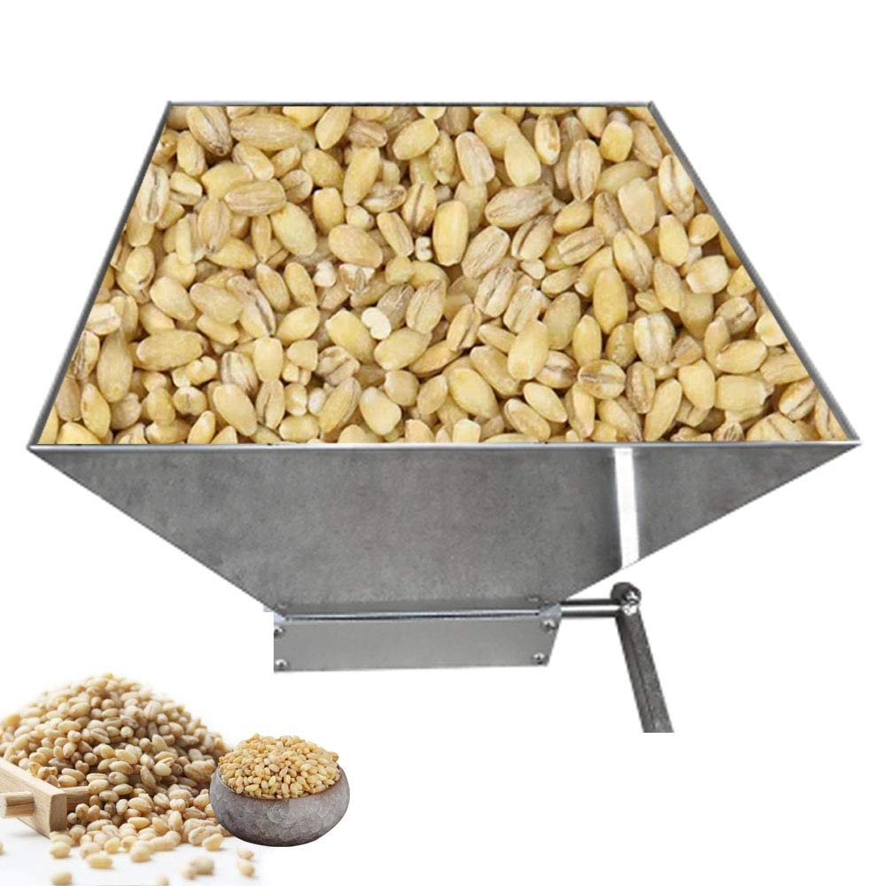 BMGIANT Home Brewing Malt Grain Crusher Hand Crank Granulator Grinder High Power Grain Mills Manual Grain Silver (2 Stainless Steel Roller)