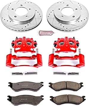 Power Stop KC1043-36 Z36 1-Click Truck and Tow Brake Kit with Carbon-Ceramic Pads, Drilled and Slotted Rotors and Powder Coated Calipers