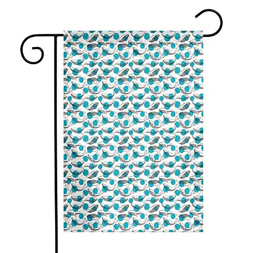 Whale Garden Flag Monochrome Animal Motifs on Background with Dots Giants of The Ocean Premium Material W12 x L18 Pale Sea Green Black White (American Flag Lapel Pin With Black Dot)