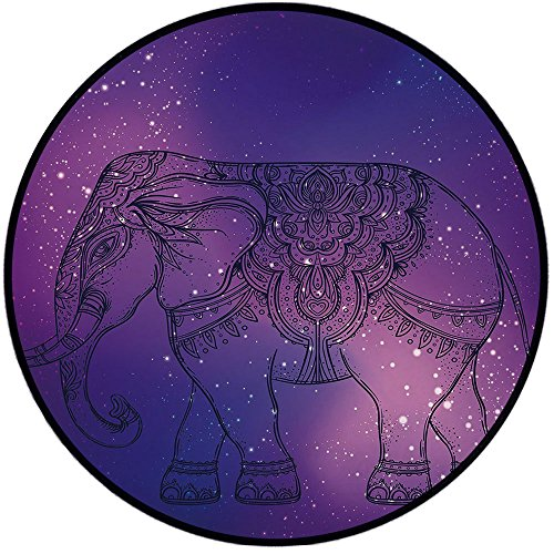 Printing Round Rug,Elephant Mandala,Sketchy Hand Drawn Holy Guardian Animal Print in Outer Space Image Mat Non-Slip Soft Entrance Mat Door Floor Rug Area Rug For Chair Living Room,Purple and Pink by iPrint