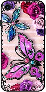 Case For iPhone se (2020) - Pink & Purple Flowers and Butterflies