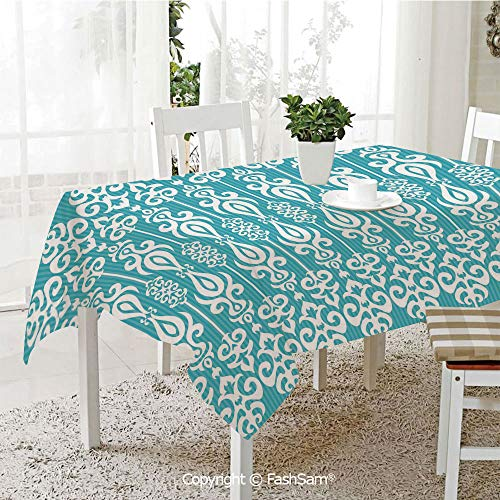 FashSam Tablecloths 3D Print Cover Oriental Asian Victorian Ancient Style Rounds Floral Swirls Borders Image Decorative Party Home Kitchen Restaurant Decorations(W60 -