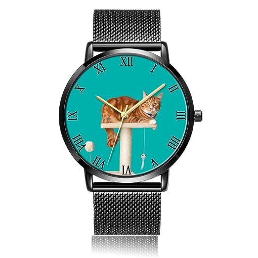 Reloj de Pulsera para Perro de Acuarela Personalizado, Correa de Acero Negro con Placa de Esfera Negra, Reloj de Pulsera de Moda para Mujeres o Hombres: ...