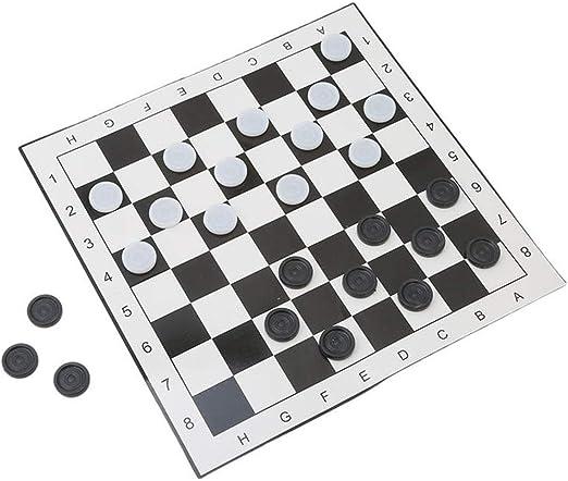Kanqingqing Juego de Mesa de Viaje Internacional Damas portátil Plegable de plástico Tablero de ajedrez Juego de 33 * 33 cm para niños y Adultos (Color : Black+White, Size : One Size): Amazon.es: Hogar