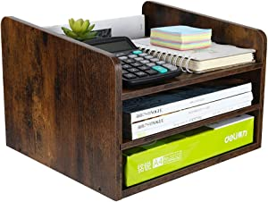 PAG Wood Desktop File Organizer Mail Sorter Magazine Rack Paper Holder Telephone Stand with Adjustable Drawer, Retro Brown