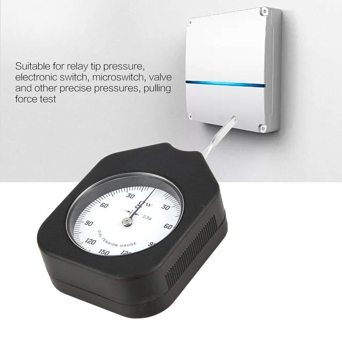 Tensiómetro analógico de 150 g Precio con un solo puntero Dial Medidor de tensión Medidor Probador Dinamómetro tabular Medidor de tensión lateral - Negro: ...