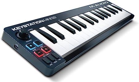 M-Audio Keystation Mini 32 MK2 - Teclado Controlador Compacto USB / MIDI de 32 Teclas Sensibles a la Velocidad de Acción Sintetizada