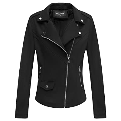 Bellivera Faux Suede Leather Jackets for Women, Moto Biker Short Coat with 2 Pockets: Clothing