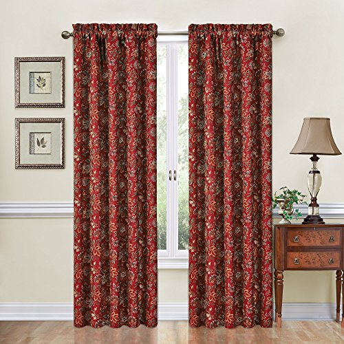 Red Floral Curtains - Traditions by Waverly 14314052084CRI Navarra Floral 52-Inch by 84-Inch Single Window Curtain Panel, Crimson