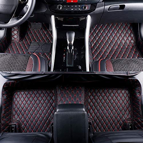 2013-2018 Grand Cherokee Durango Leather Custom Fit Floor Mats (Black w/Red) ()