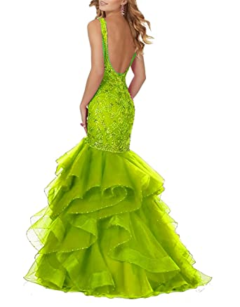 Ladsen Open Back Beaded Long Meramid Prom Dresses Green US14 Size