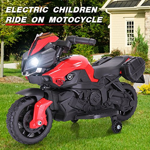 120vac Charger Black Body (K Top Deal 6V Kids Ride On Motorcycle - Battery Powered Bicycle Electric Toy w/Training Wheel, Black - Red (Ship from U.S.A))