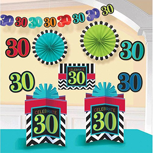 Amscan Must-Have Chevron and Stripes 30th Birthday Party Assorted Room Decorating Kit , Pack of 10, Multi , 10.5