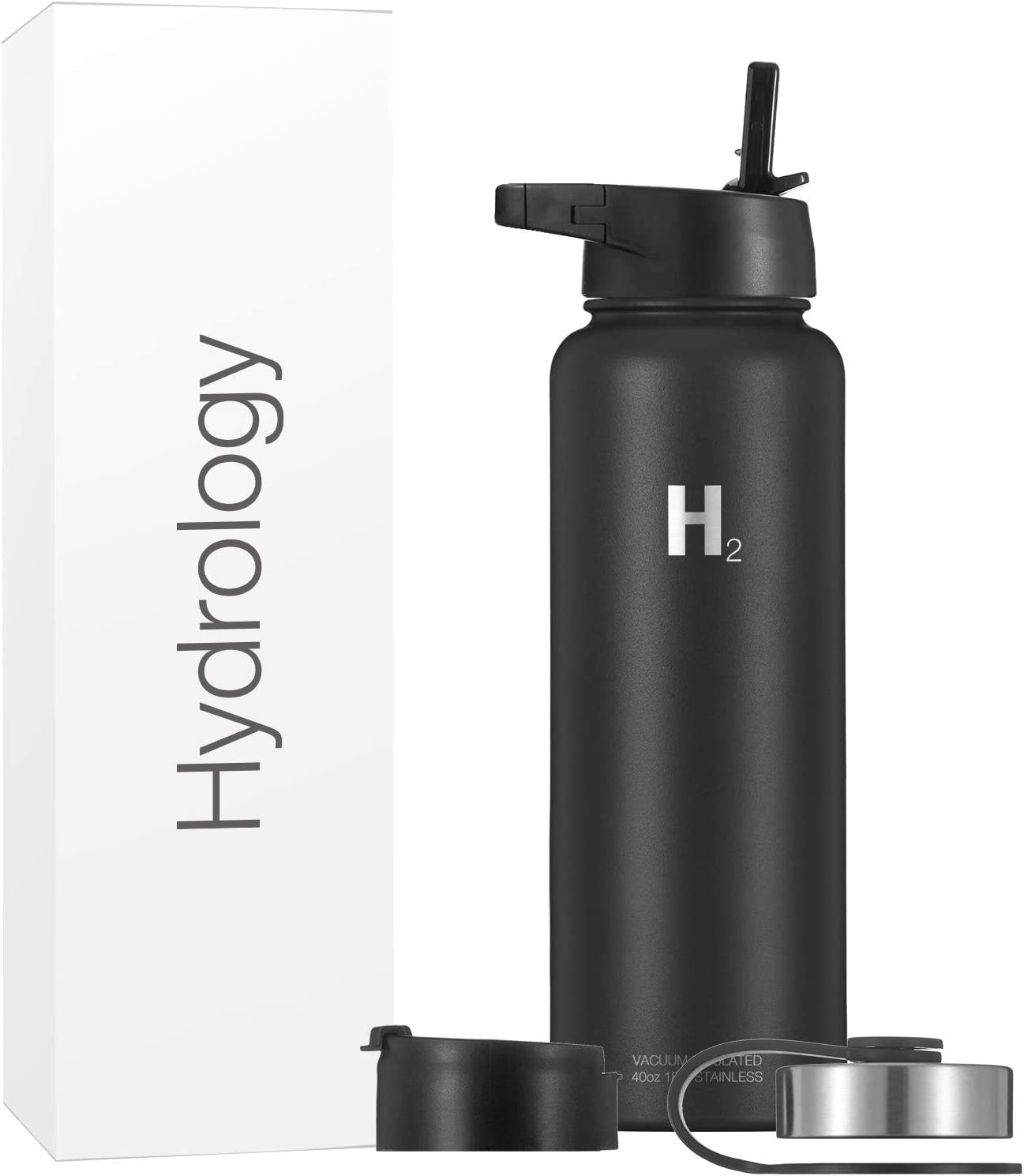 Hydrology Insulated Water Bottle with Straw, Thermos & Wide Mouth Lid (Includes 3 Lids) | Stainless Steel, Double Wall Vacuum | Keeps Liquids Cold or Hot | Sweat Proof Flask (Black, 40 oz)