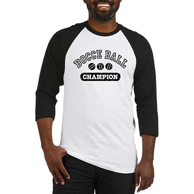 fd1baaa5e CafePress Bocce Ball Champion Cotton Baseball Jersey, 3/4 Raglan Sleeve  Shirt Black/