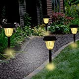 Sogrand Solar Garden Lights Outdoor Decorations Stakes Pathway Decorative Stake Light Upgraded Warm White LED Bright Walkway Lamp for Patio Outside Landscape Driveway Path Yard 4Pack
