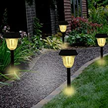 Sogrand Solar Lights Outdoor Pathway Decorative Garden Stake Light Upgraded Warm White LED Brgiht Decorations Stakes Walkway Lamp for Patio Outside Landscape Driveway Path Yard 4Pack