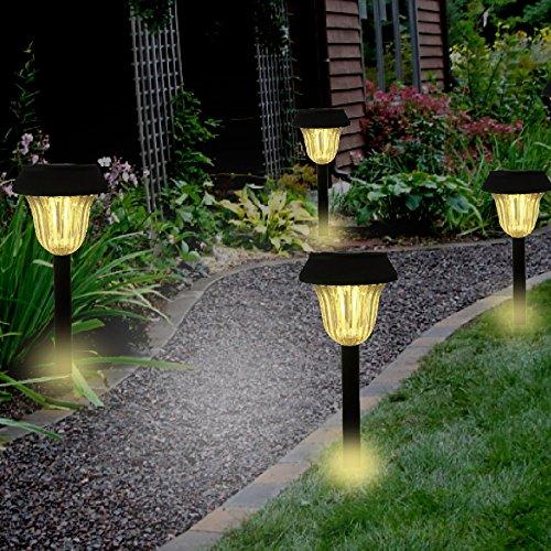 4pcs solar pathway led lights outdoor garden light walkway for Outside walkway lights